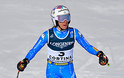 15.02.2021, Cortina, ITA, FIS Weltmeisterschaften Ski Alpin, Alpine Kombination, Damen, Super G, im Bild Marta Bassino (ITA) // Marta Bassino of Italy reacts after the Super G competition for the women's alpine combined of FIS Alpine Ski World Championships 2021 in Cortina, Italy on 2021/02/15. EXPA Pictures © 2021, PhotoCredit: EXPA/ Erich Spiess
