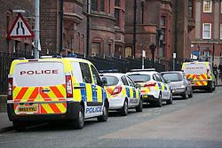 © Licensed to London News Pictures.9/12/2014. Birmingham,UK. Police in Birmingham and the West Midlands have been warned of a heightened terrorist threat. Pictured, police vehicles outside Steelhouse Lane Police Station.  Photo credit : Dave Warren/LNP