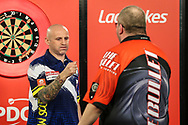 Alan Soutar wins his fourth round match against Stephen Bunting during the Ladbrokes UK Open at Stadium:MK, Milton Keynes, England. UK on 5 March 2021.