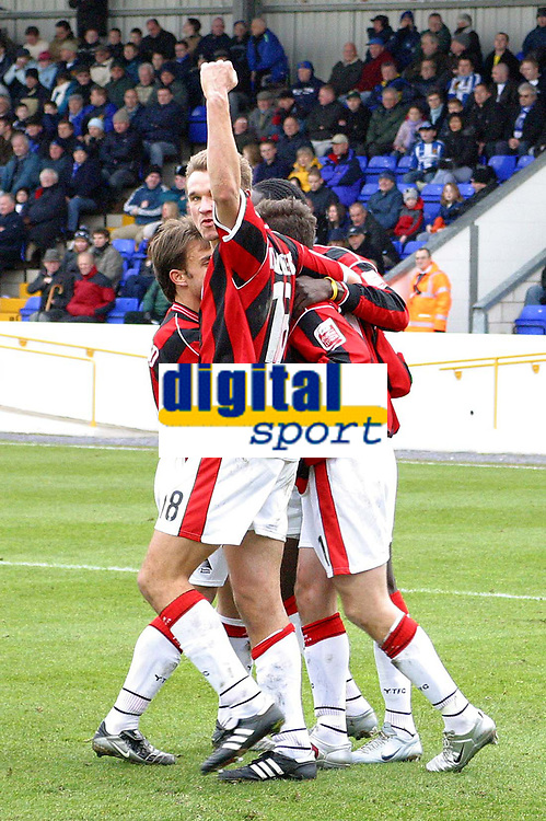 Photo: Paul Thomas. Chester City v Yeovil Town. Deva Stadium, Chester. Coca Cola League Two. 19/02/2005. Yeovil celebrate the Phil Jevons penalty to take a 2 - 0 lead.