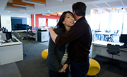 Leader of the Conservative Party David Cameron cuddles his wife Samantha after delivering his speech at a rally at the Milton Keynes Academy, Saturday March 27, 2010.  Photo By Andrew Parsons / i-Images.