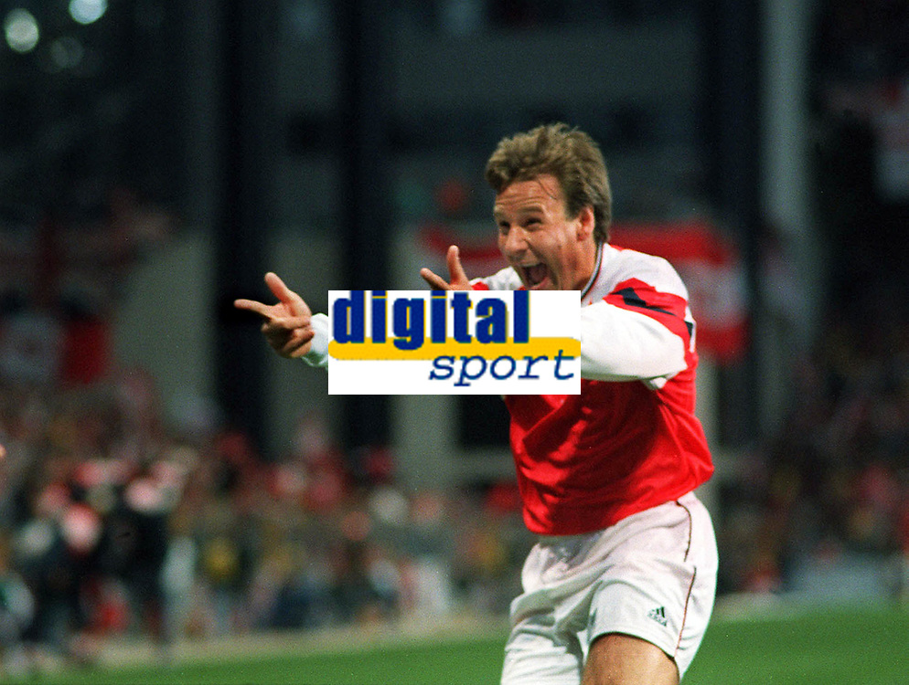 Paul Merson (Arsenal) celebrates Smith's goal. European Cup Winners Cup Final 1994. Arsenal v Parma 4/5/94  Credit : Colorsport
