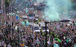 Hibernian Scottish Cup Open Top Bus Edinburgh 14 May 2016; The Hibs players show the trophy to the fans from bus makes its way down Leith Walk during the open top bus parade in Edinburgh after winning the Scottish Cup.<br /> <br /> (c) Chris McCluskie | Edinburgh Elite media