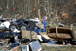 24 February 2016. Sugar Hill RV Park, Convent, Louisiana.<br /> Scenes of devastation following a deadly EF3 tornado touchdown. 2 confirmed dead. <br /> Families recover all they can from their destroyed trailers.<br /> Photo©; Charlie Varley/varleypix.com