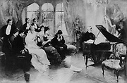 Richard Wagner (1813-1883) German composer and conductor, seated at a grand piano, playing music from his opera 'Parsifal' for an intimate group of friends.  Print c1915.