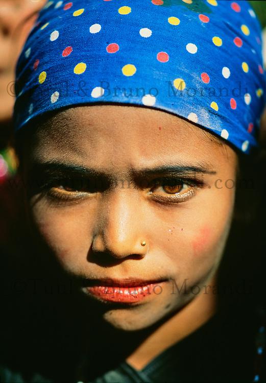 Nepal, region des Annapurna, jeune fille Chetri. // Nepal, Annapurna area, young Chetri girl.