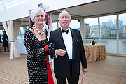 Emma Kitchener-Fellowes; Julian Fellowes, Breast Cancer Haven 10th Anniversary Gala Event aboard Super Luxury Yacht Seabourn Sojourn. Off Canary Wharf. London. 5 June 2010. -DO NOT ARCHIVE-© Copyright Photograph by Dafydd Jones. 248 Clapham Rd. London SW9 0PZ. Tel 0207 820 0771. www.dafjones.com.