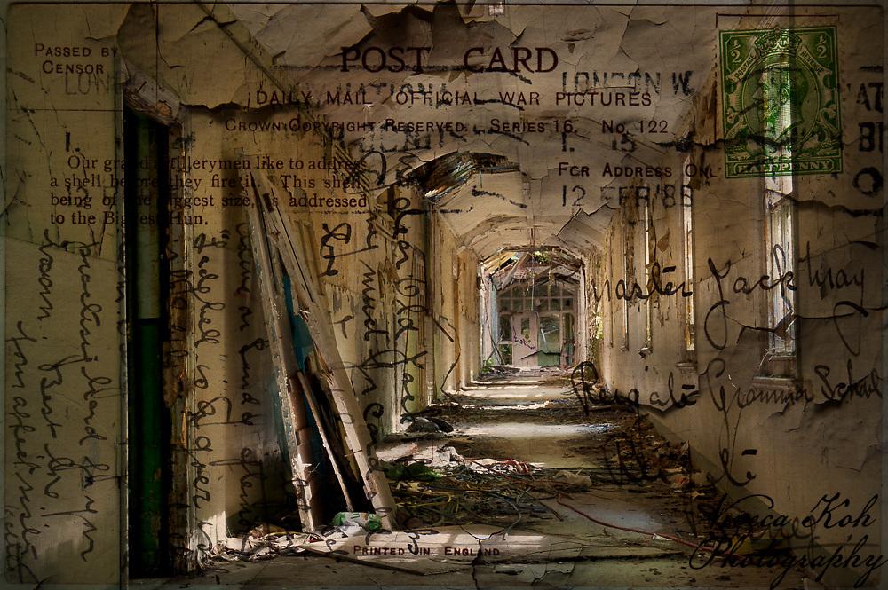 Textured photograph using vintage postcard