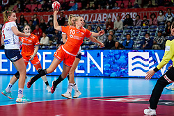 06-12-2019 JAP: Norway - Netherlands, Kumamoto<br /> Last match groep A at 24th IHF Women's Handball World Championship. / The Dutch handball players won in an exciting game of fear gegner Norway and wrote in the last group match at the World Handball  World Championship history (30-28). / Danick Snelder #10 of Netherlands