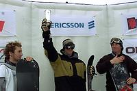 Snowboard, NM snøbrett halfpipe Geilo mars 2000. Daniel Franck (t.v.), Terje Haakonsen (midten) og  Espen Arvesen.