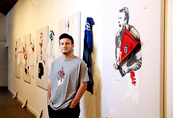 Artist Gabe Cuthbert during the Art of Football World In Colour Exhibition Preview at Hoxton Arches, London.