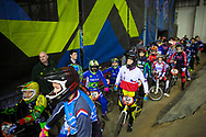 The women line up for the practice session on Day 1 at the 2014 UCI BMX Supercross World Cup in Manchester.