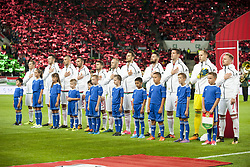 September 3, 2017 - Budapest, Hungary - The Hungarian national football team pictured during the national anthem during the FIFA World Cup 2018 Qualifying Round match between Hungary and Portugal at Groupama Arena in Budapest, Hungary on September 3, 2017  (Credit Image: © Andrew Surma/NurPhoto via ZUMA Press)