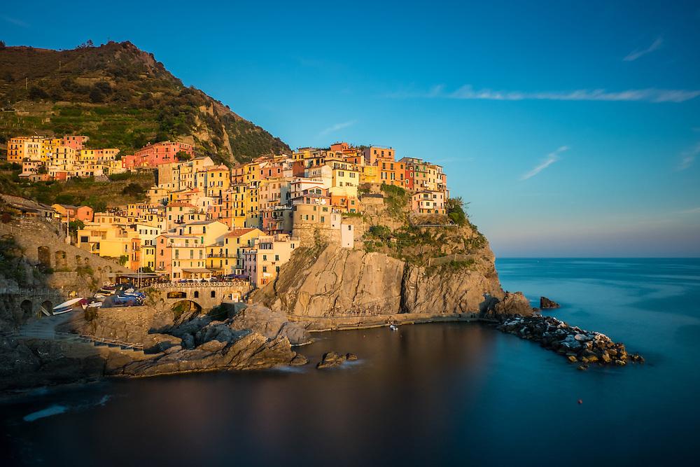 MANAROLA, ITALY - CIRCA MAY 2015:  Village of Manarola at sunset in Cinque Terre, Italy.