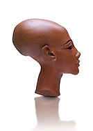 Ancient Egyptian quartz statue head of princess from Amarna. 18th Dynasty Ancient Egypt, 1345 BC . Neues Museum Berlin Cat No: AM 21223. .<br /> <br /> If you prefer to buy from our ALAMY PHOTO LIBRARY  Collection visit : https://www.alamy.com/portfolio/paul-williams-funkystock/ancient-egyptian-art-artefacts.html  . Type -   Neues    - into the LOWER SEARCH WITHIN GALLERY box. Refine search by adding background colour, subject etc<br /> <br /> Visit our ANCIENT WORLD PHOTO COLLECTIONS for more photos to download or buy as wall art prints https://funkystock.photoshelter.com/gallery-collection/Ancient-World-Art-Antiquities-Historic-Sites-Pictures-Images-of/C00006u26yqSkDOM