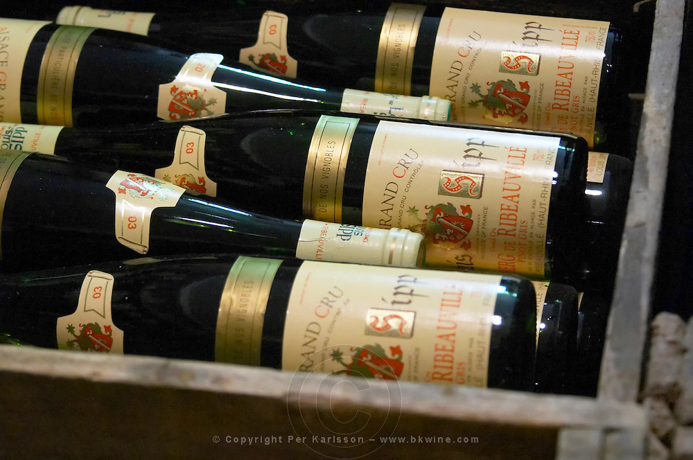 bottles stored in wooden crates dom. louis sipp ribeauville alsace france