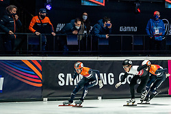 Itzhak de Laat of Netherlands, Sjinkie Knegt of Netherlands in action on 1500 meter during ISU World Short Track speed skating Championships on March 05, 2021 in Dordrecht