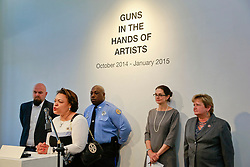 16 April 2014. Jonathan Ferrara Gallery, New Orleans, Louisiana. <br /> L/R; Jonathan Ferrara,  LaToya Cantrell,  Officer Earl Johnson, Stacy Head and Susan Guidry at the Jonathan Ferrara Gallery to announce the 'Guns In The Hands Of Artists' project where artists take parts from 190 destroyed weapons acquired by the New Orleans Police department through a buy-back program and convert them into art.  <br /> Photo; Charlie Varley/varleypix.com
