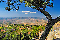 View over the Tuscan countryside from Volterra, Siena, Italy. 200409190034.<br /> <br /> Copyright Image from Victor Patterson, Belfast, UK<br /> <br /> t: +44 28 9066 1296 (from Rep of Ireland 048 9066 1296)<br /> m: +44 7802 353836<br /> e: victorpattersonbelfast@gmail.com<br /> <br /> www.images4media.com<br /> <br /> Please see my full Terms and Conditions of Use at https://www.images4media.com/p/terms-conditions - it is IMPORTANT that you familiarise yourself with them.<br /> <br /> Images used online incur an additional cost. This cost should be agreed in writing in advance. Online images must be visibly watermarked i.e. © Victor Patterson or that of the named photographer within the body of the image. The original metadata must not be deleted from images used online.<br /> <br /> This image is only available for the use of the download recipient i.e. television station, newspaper, magazine, book publisher, etc, and must not be passed on to a third party. It is also downloaded on condition that each and every usage is notified within 7 days to victorpattersonbelfast@gmail.com.<br /> <br /> The right of Victor Patterson (or the named photographer) to be identified as the author is asserted in accordance with The Copyright Designs And Patents Act (1988). All moral rights are asserted.