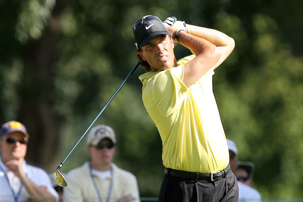 10 August 2007: Stephen Ames tees off on the 4th hole during the second round of the 89th PGA Championship at Southern Hills Country Club in Tulsa, OK.
