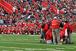 27 October 2007:  Redbird Players kneel at the sideline while team mate Jason Horton is attended to.  Horton was injured while attempting to catch a pass from Luke Drone. The Western Illinois Leathernecks beat up on the Illinois State Redbirds  27-14 at Hancock Stadium on the campus of Illinois State University in Normal Illinois.
