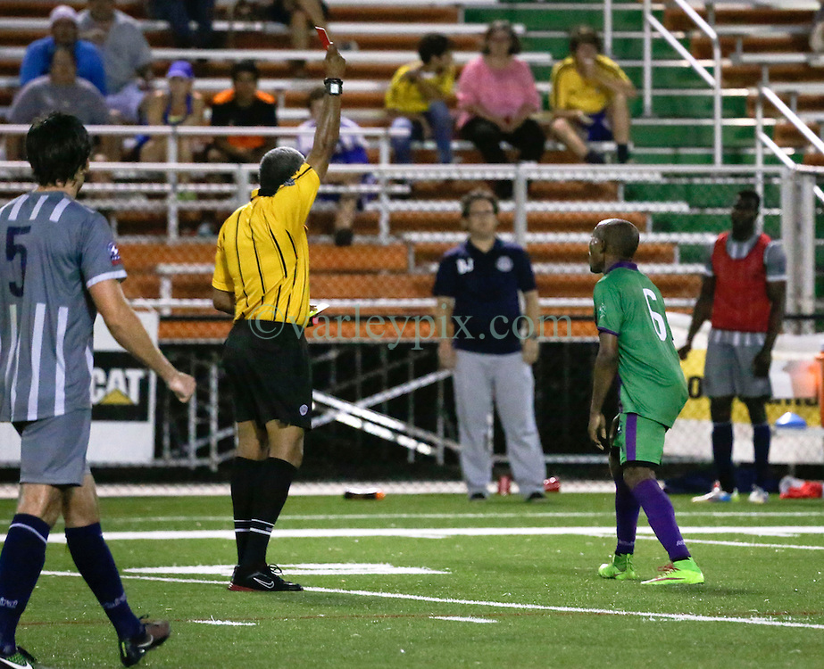 16 May 2015. New Orleans, Louisiana.<br /> National Premier Soccer League. NPSL. <br /> 2nd half. Red card sending off.<br /> The New Orleans Jesters play Nashville FC at home in the Pan American Stadium. Jesters drew 1-1 with Nashville in a game that ended in a controversial equalizer from a free kick awarded to Nashville as the minutes wound down in extra time.<br /> Photo; Charlie Varley/varleypix.com