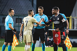 Alen Kozar of Mura and Denzel Dumfries of PSV Eindhoven during football match between NS Mura and PSV Eindhoven in Third Round of UEFA Europa League Qualifications, on September 24, 2020 in Stadium Fazanerija, Murska Sobota, Slovenia. Photo by Blaz Weindorfer / Sportida