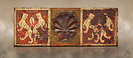 Gothic decorative painted beam panels with lions and a carved syalise tree, Tempera on wood. National Museum of Catalan Art (MNAC), Barcelona, Spain. Against a art background. .<br /> <br /> If you prefer you can also buy from our ALAMY PHOTO LIBRARY  Collection visit : https://www.alamy.com/portfolio/paul-williams-funkystock/gothic-art-antiquities.html  Type -     MANAC    - into the LOWER SEARCH WITHIN GALLERY box. Refine search by adding background colour, place, museum etc<br /> <br /> Visit our MEDIEVAL GOTHIC ART PHOTO COLLECTIONS for more   photos  to download or buy as prints https://funkystock.photoshelter.com/gallery-collection/Medieval-Gothic-Art-Antiquities-Historic-Sites-Pictures-Images-of/C0000gZ8POl_DCqE