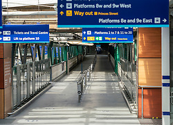 Edinburgh, Scotland, UK. 8 April 2020. Images from Edinburgh during the continuing Coronavirus lockdown. Pictured; Waverley railway station almost deserted of passengers.  Iain Masterton/Alamy Live News.