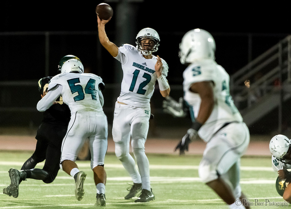 Sheldon High School Husky Chancellor Lachapelle (12), passes the ball during the second quarter as the Monterey Trail Mustangs host the Sheldon High School Huskies Friday Sep 23, 2016.<br /> photo by Brian Baer