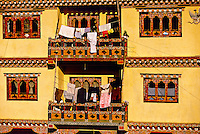 Laundry on apartment balconies, Khuruthang, Punakha Valley, Bhutan