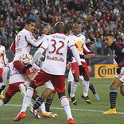 Charlie Davies, (right), New England Revolution, scores the first of his two goal during the New England Revolution Vs New York Red Bulls, MLS Eastern Conference Final, second leg. Gillette Stadium, Foxborough, Massachusetts, USA. 29th November 2014. Photo Tim Clayton