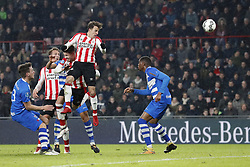 (L-R) Erik Bakker of PEC Zwolle, Luuk de Jong of PSV, Marco van Ginkel of PSV, Santiago Arias of PSV, Kingsley Ehizibue of PEC Zwolle during the Dutch Eredivisie match between PSV Eindhoven and PEC Zwolle at the Phillips stadium on February 03, 2018 in Eindhoven, The Netherlands