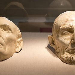 A life mask of Abraham Lincoln done two months before his death inside the American Presidents' exhibit in the National Portrait Gallery of the Smithsonian Institution in the Chinatown neighborhood of Washington, DC.