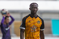 Newport County's Saikou Janneh (20) is substituted during the EFL Sky Bet League 2 match between Newport County and Tranmere Rovers at Rodney Parade, Newport, Wales on 17 October 2020.