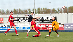 Falkirk's Mark Millar misses a chance.<br /> Falkirk 2 v 1 Raith Rovers, Scottish Championship game played today at The Falkirk Stadium.<br /> © Michael Schofield.