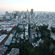 A general view of the San Francisco skyline as seen from a helicopter view on Thursday, October 24, 2014. (AP Photo/Alex Menendez)