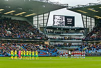 Football - 2021 / 2022 Premier League - Burnley vs. Norwich City - Turf Moor - Saturday 2nd October 2021<br /> <br /> A minutes applause as both sides pay their respects to Liverpool striker Roger Hunt who died this week, at Turf Moor.<br /> <br /> <br /> COLORSPORT/ALAN MARTIN