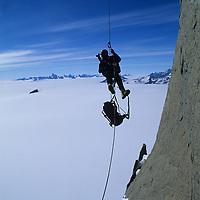 Gordon Wiltsie photographs a climbing expedition to Rakekniven Spire in the Filchner Mountains of <br /> Queen Maud Land, Antarctica.