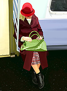 Drawing of a colorfully dressed woman sitting on a commuter subway train in New York City