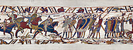 11th Century Medieval Bayeux Tapestry - Scene 51 William encourages his soldiers into battle. Battle of Hastings 1066. .<br /> <br /> If you prefer you can also buy from our ALAMY PHOTO LIBRARY  Collection visit : https://www.alamy.com/portfolio/paul-williams-funkystock/bayeux-tapestry-medieval-art.html  if you know the scene number you want enter BXY followed bt the scene no into the SEARCH WITHIN GALLERY box  i.e BYX 22 for scene 22)<br /> <br />  Visit our MEDIEVAL ART PHOTO COLLECTIONS for more   photos  to download or buy as prints https://funkystock.photoshelter.com/gallery-collection/Medieval-Middle-Ages-Art-Artefacts-Antiquities-Pictures-Images-of/C0000YpKXiAHnG2k