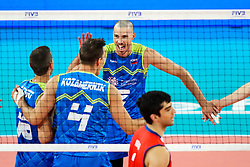 Alen Pajenk of Slovenia, Gregor Ropret of Slovenia and Jan Kozamernik of Slovenia celebrateduring volleyball match between Slovenia and Chile in Group A of FIVB Volleyball Challenger Cup Men, on July 3, 2019 in Arena Stozice, Ljubljana, Slovenia. Photo by Matic Klansek Velej / Sportida