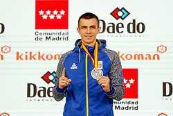 November 10, 2018 - Madrid, Madrid, Spain - Chobotar Valerii (UKR)  win the silver medal and the second place of tournament of male Kumite -84 Kg during the Finals of Karate World Championship celebrates in Wizink Center, Madrid, Spain, on November 10th, 2018. (Credit Image: © AFP7 via ZUMA Wire)