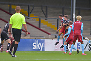Charlie Barks (35) scores a goal during the Pre-Season Friendly match between Scunthorpe United and Doncaster Rovers at Glanford Park, Scunthorpe, England on 15 August 2020.