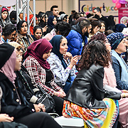 Fashions and halal food stalls exhibition at London Muslim Shopping Festival 2019 on 14 April 2019 at Olympia London, UK.