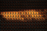 Spectator seats illuminated by a ray of sunlight penetrating through the side rooftop openings of Philippe Chatrier stadium during the Roland Garros 2020, Grand Slam tennis tournament, on October 5, 2020 at Roland Garros stadium in Paris, France - Photo Stephane Allaman / ProSportsImages / DPPI