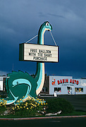 A Brontosaurus sign lures children to a Best Western in Vernal, Utah the nearest town to Dinosaur National Park.