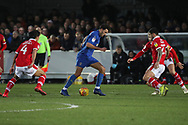 AFC Wimbledon defender Will Nightingale (5) dribbling during the EFL Sky Bet League 1 match between AFC Wimbledon and Barnsley at the Cherry Red Records Stadium, Kingston, England on 19 January 2019.
