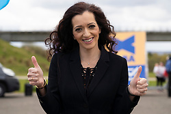 Falkirk, Scotland, UK. 30 April 2021. Leader of the pro Scottish nationalist Alba Party , Alex Salmond, campaigns with party supporters at the Falkirk Wheel ahead of Scottish elections on May 6th. Pic; Tasmina Ahmed-Sheikh Is list candidate for Central Scotland,  Iain Masterton/Alamy Live News