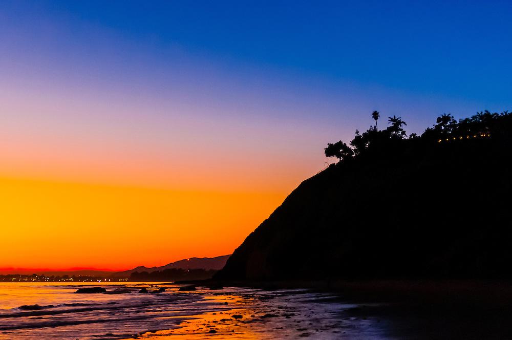 Twilight view, Hendry's Beach (Arroyo Burro County Beach Park), Santa Barbara, California USA.